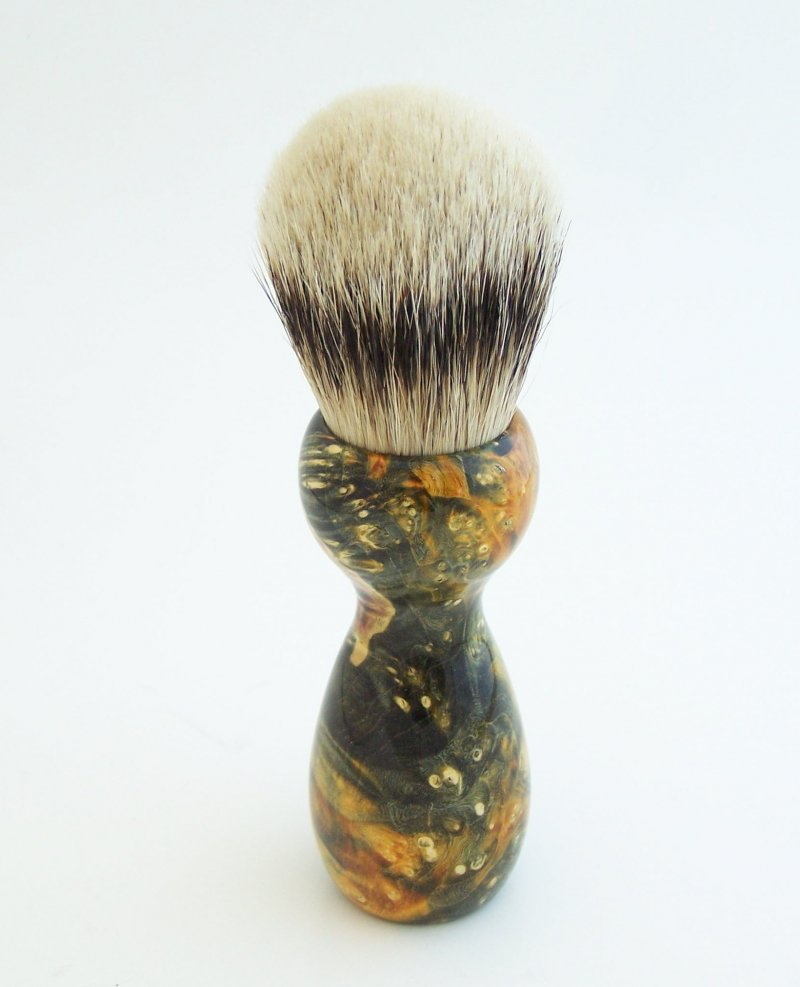 Image 2 of Gold Box Elder Burl Wood 24mm Super Silvertip Badger Shaving Brush (BEB40)