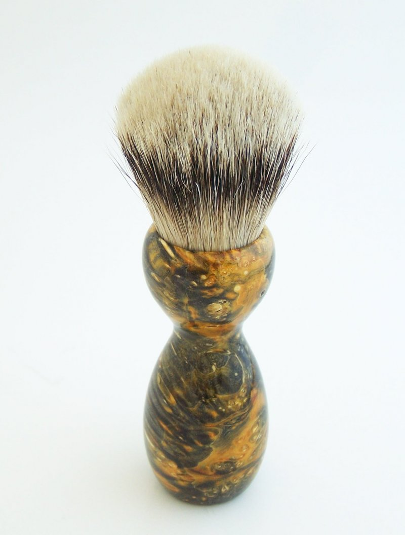 Image 2 of Gold Box Elder Burl Wood 24mm Super Silvertip Badger Shaving Brush (BEB42)