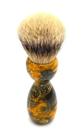 Image 3 of Gold Box Elder Burl Wood 24mm Super Silvertip Badger Shaving Brush (BEB42)
