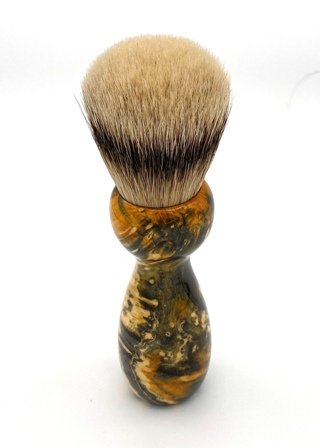 Image 2 of Gold Box Elder Burl Wood 24mm Super Silvertip Badger Shaving Brush (BEB45)