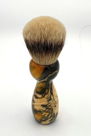 Image 3 of Gold Box Elder Burl Wood 24mm Super Silvertip Badger Shaving Brush (BEB45)