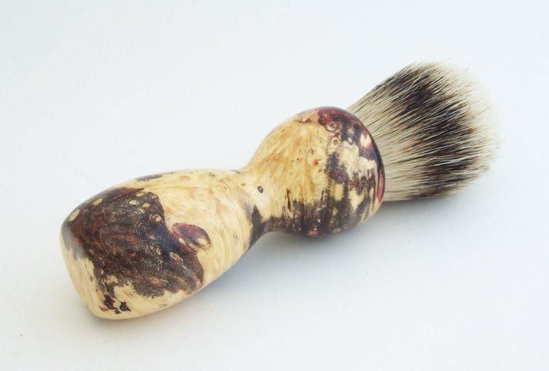 Image 1 of Red Box Elder Burl Wood 24mm Super Silvertip Badger Shaving Brush (BEB43)