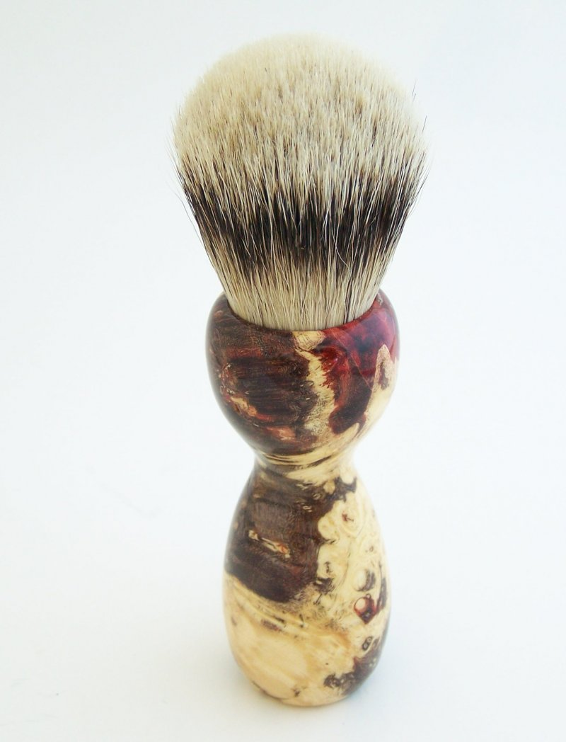 Image 2 of Red Box Elder Burl Wood 24mm Super Silvertip Badger Shaving Brush (BEB43)