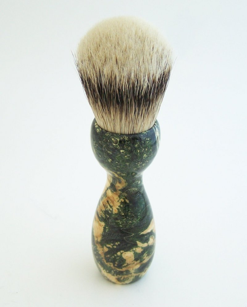 Image 2 of Green Box Elder Burl Wood 24mm Super Silvertip Badger Shaving Brush (BEB44)