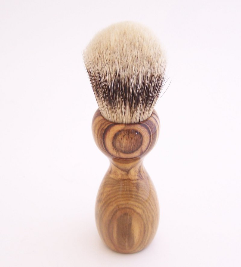 Image 2 of Pistachio Wood 24mm Super Silvertip Shaving Brush (Handmade in USA)  P1