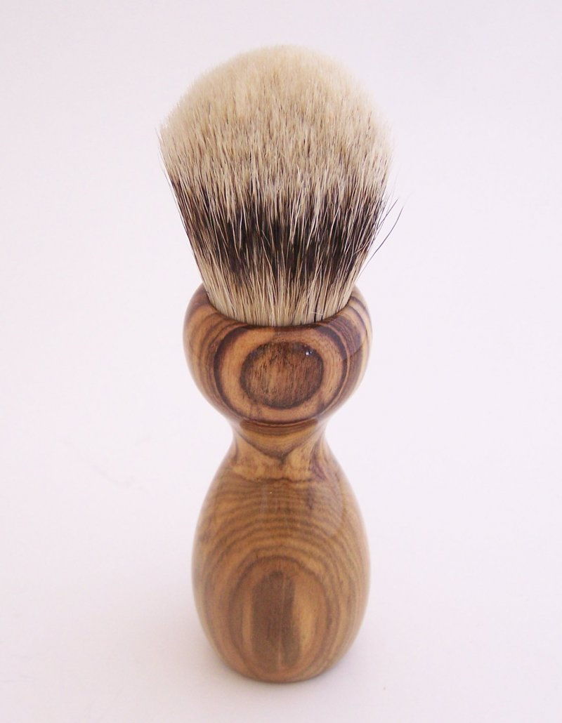 Image 3 of Pistachio Wood 24mm Super Silvertip Shaving Brush (Handmade in USA)  P1
