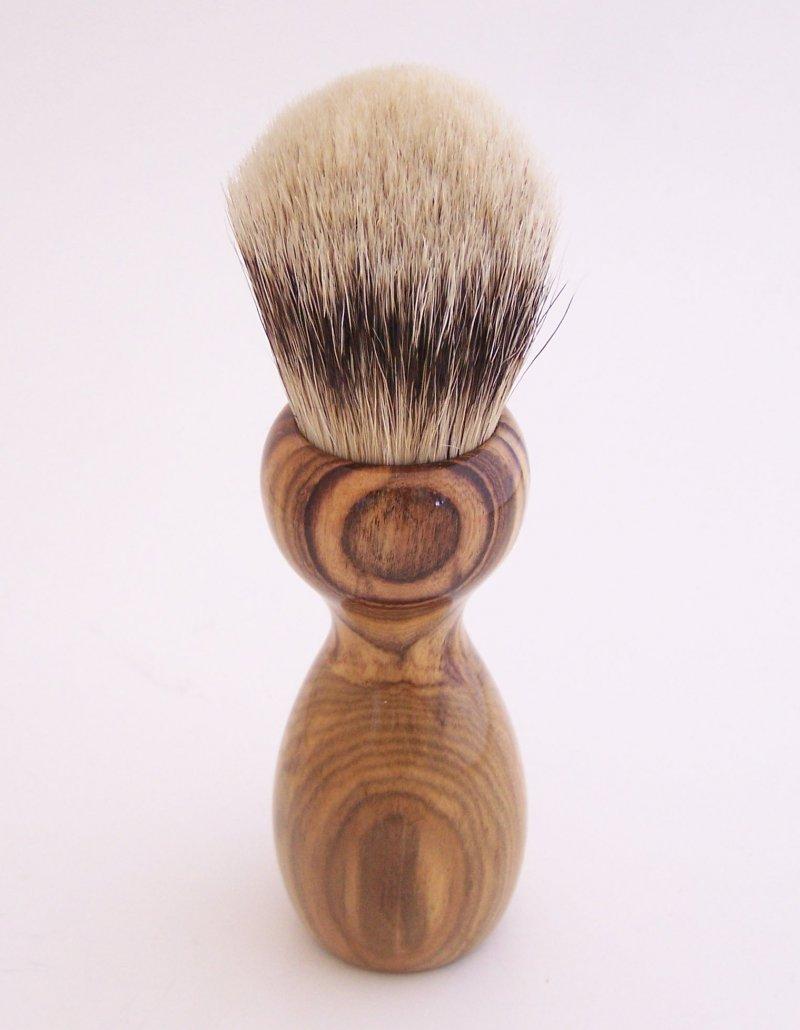 Image 3 of Pistachio Wood 24mm Super Silvertip Shaving Brush (Handmade in USA)  P1