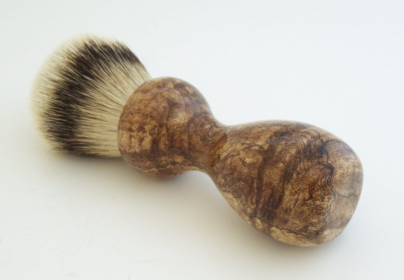 Image 0 of Spalted Maple Burl Wood 26mm Silvertip Badger Shaving Brush (Handmade) M10