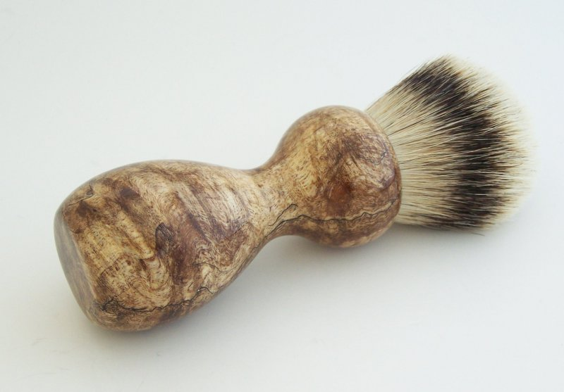 Image 1 of Spalted Maple Burl Wood 26mm Silvertip Badger Shaving Brush (Handmade) M10
