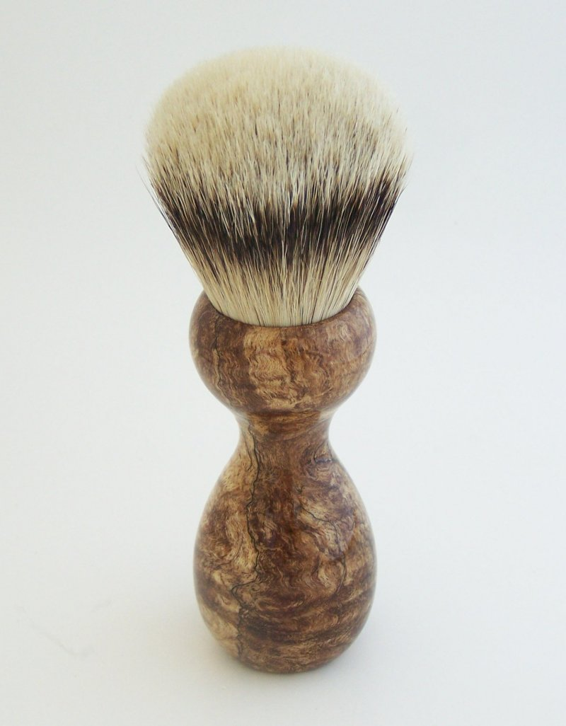 Image 2 of Spalted Maple Burl Wood 26mm Silvertip Badger Shaving Brush (Handmade) M10