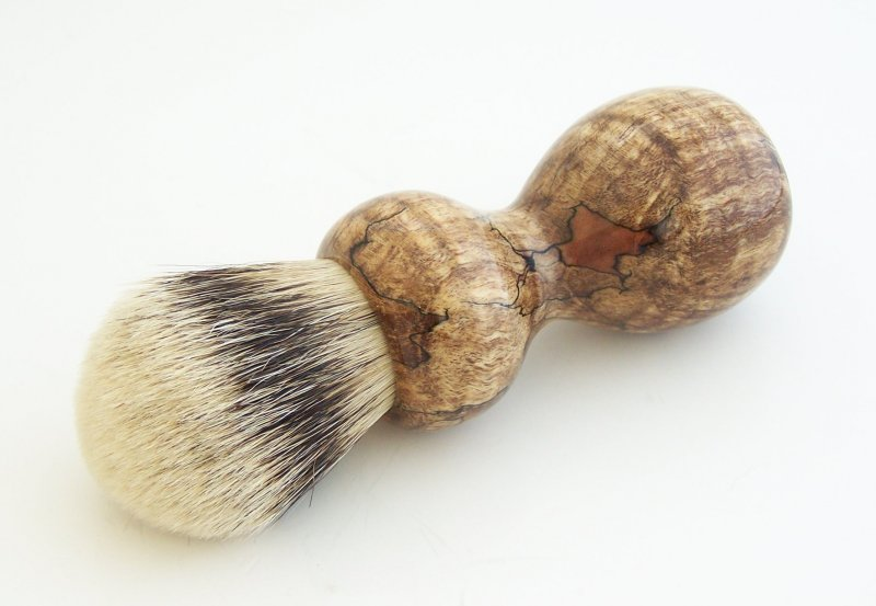 Image 0 of Spalted Maple Burl Wood 24mm Silvertip Badger Shaving Brush (Handmade in USA)M14