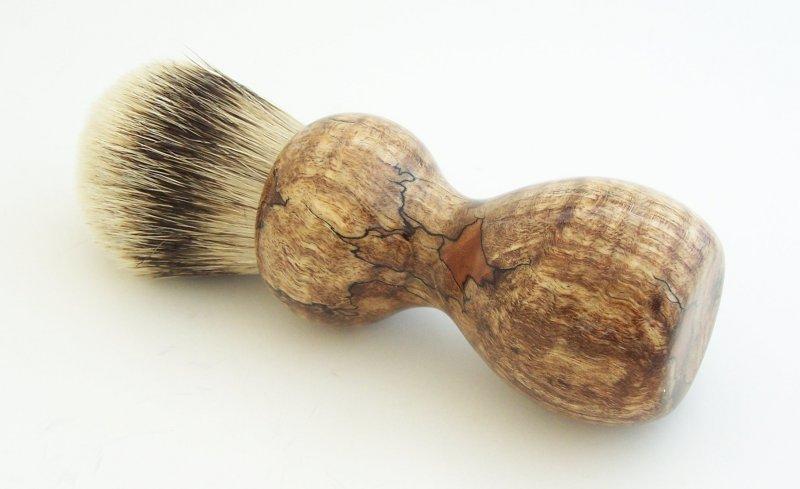 Image 1 of Spalted Maple Burl Wood 24mm Silvertip Badger Shaving Brush (Handmade in USA)M14