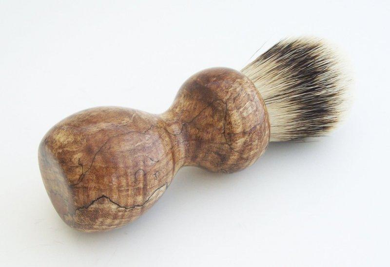 Image 2 of Spalted Maple Burl Wood 24mm Silvertip Badger Shaving Brush (Handmade in USA)M14