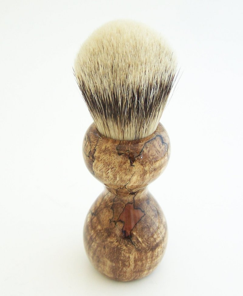 Image 3 of Spalted Maple Burl Wood 24mm Silvertip Badger Shaving Brush (Handmade in USA)M14