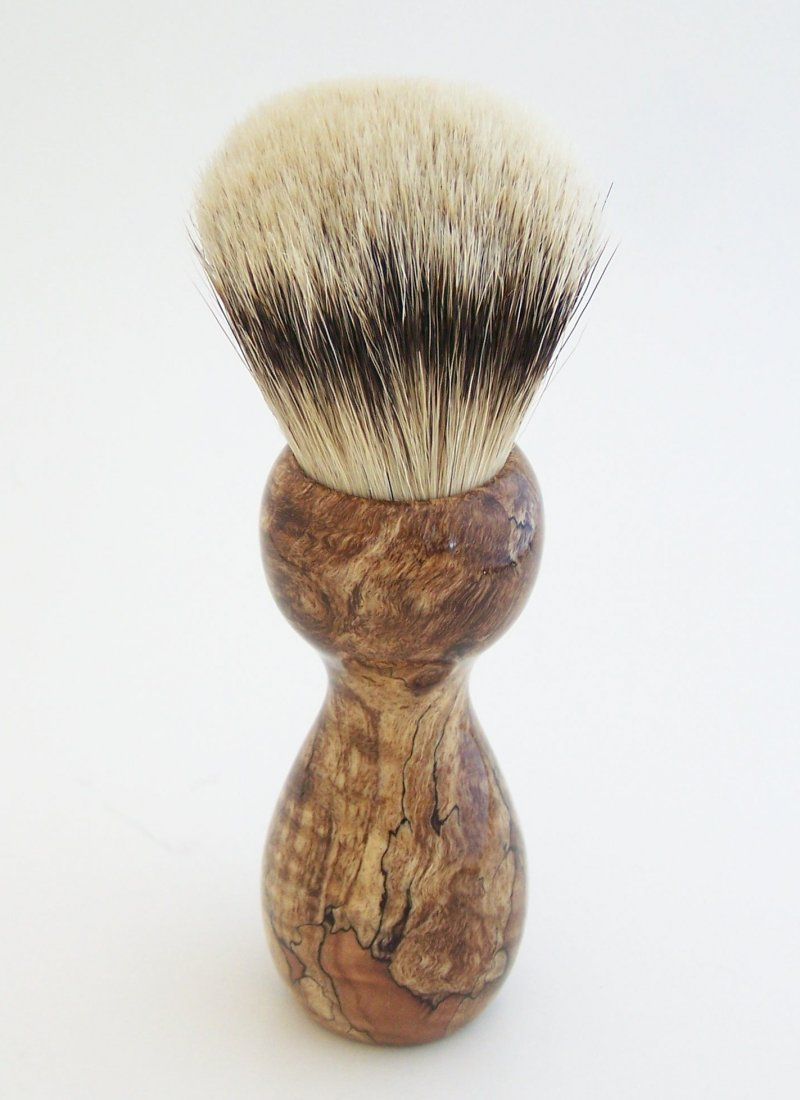 Image 2 of Spalted Maple Burl Wood 24mm Silvertip Badger Shaving Brush (Handmade in USA)M13