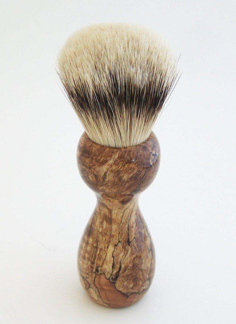 Image 2 of Spalted Maple Burl Wood 24mm Silvertip Badger Shaving Brush (Handmade in USA)M13