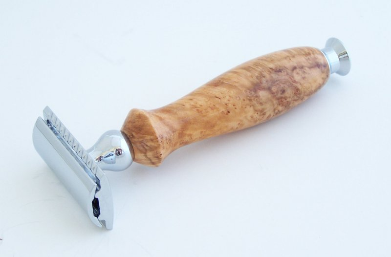 Image 0 of Cherry Burl Wood DE (Double Edge) Safety Razor Handle (Handmade) C2