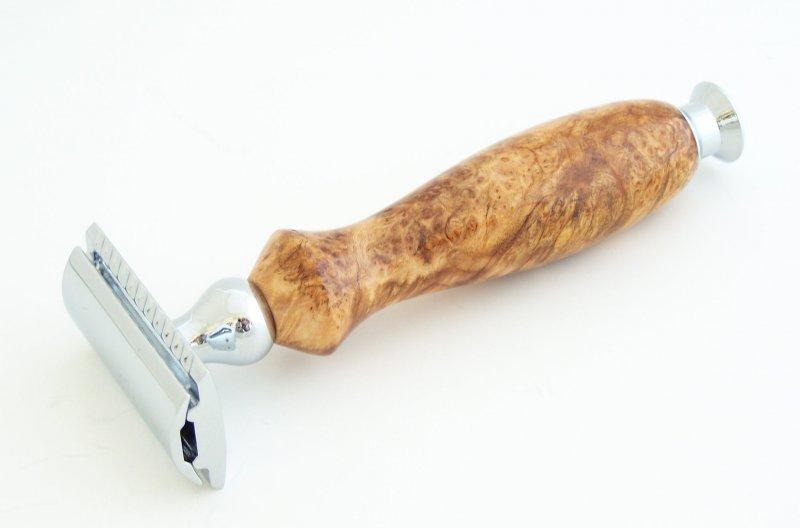 Image 1 of Cherry Burl Wood DE (Double Edge) Safety Razor Handle (Handmade) C3