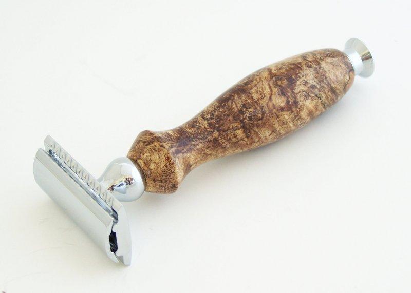 Image 0 of Spalted Maple Burl Wood DE (Double Edge) Safety Razor Handle (Handmade) M1