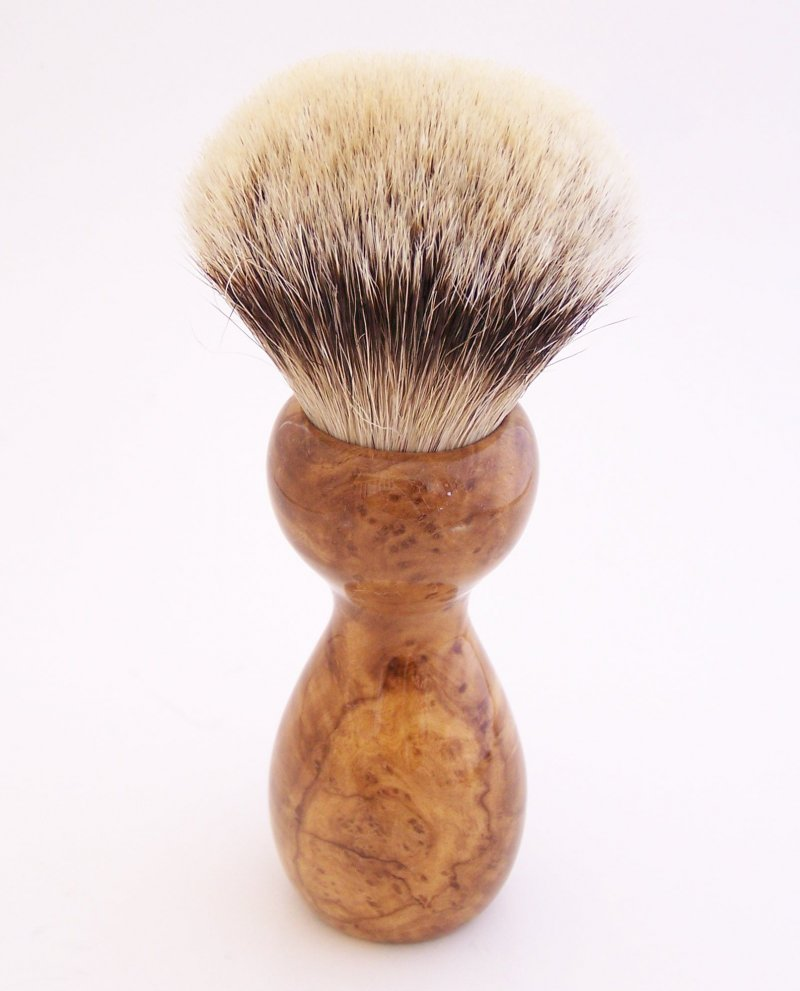 Image 2 of Carolina Cherry Burl Wood 26mm Silvertip Badger Shaving Brush (Handmade) C1
