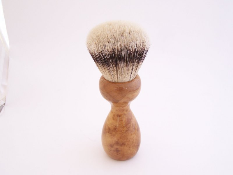 Image 1 of Carolina Cherry Burl Wood 26mm Silvertip Badger Shaving Brush (Handmade) C2)