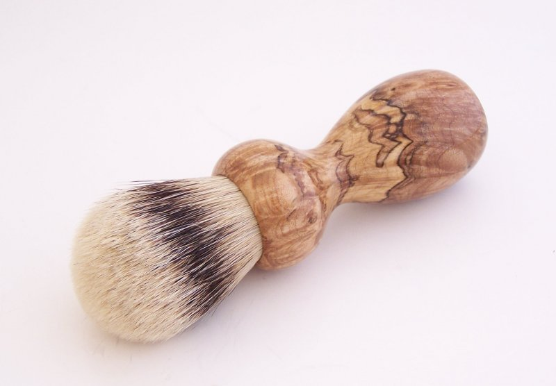 Image 0 of Spalted Maple Burl Wood 24mm Silvertip Badger Shaving Brush (Handmade in USA)M16