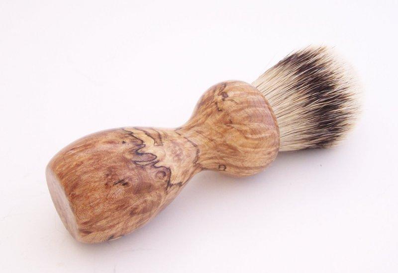 Image 1 of Spalted Maple Burl Wood 24mm Silvertip Badger Shaving Brush (Handmade in USA)M16