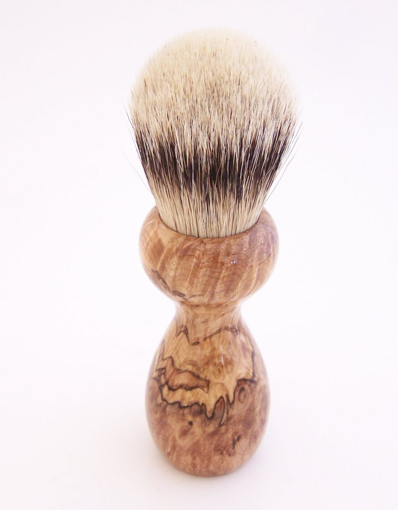 Image 2 of Spalted Maple Burl Wood 24mm Silvertip Badger Shaving Brush (Handmade in USA)M16
