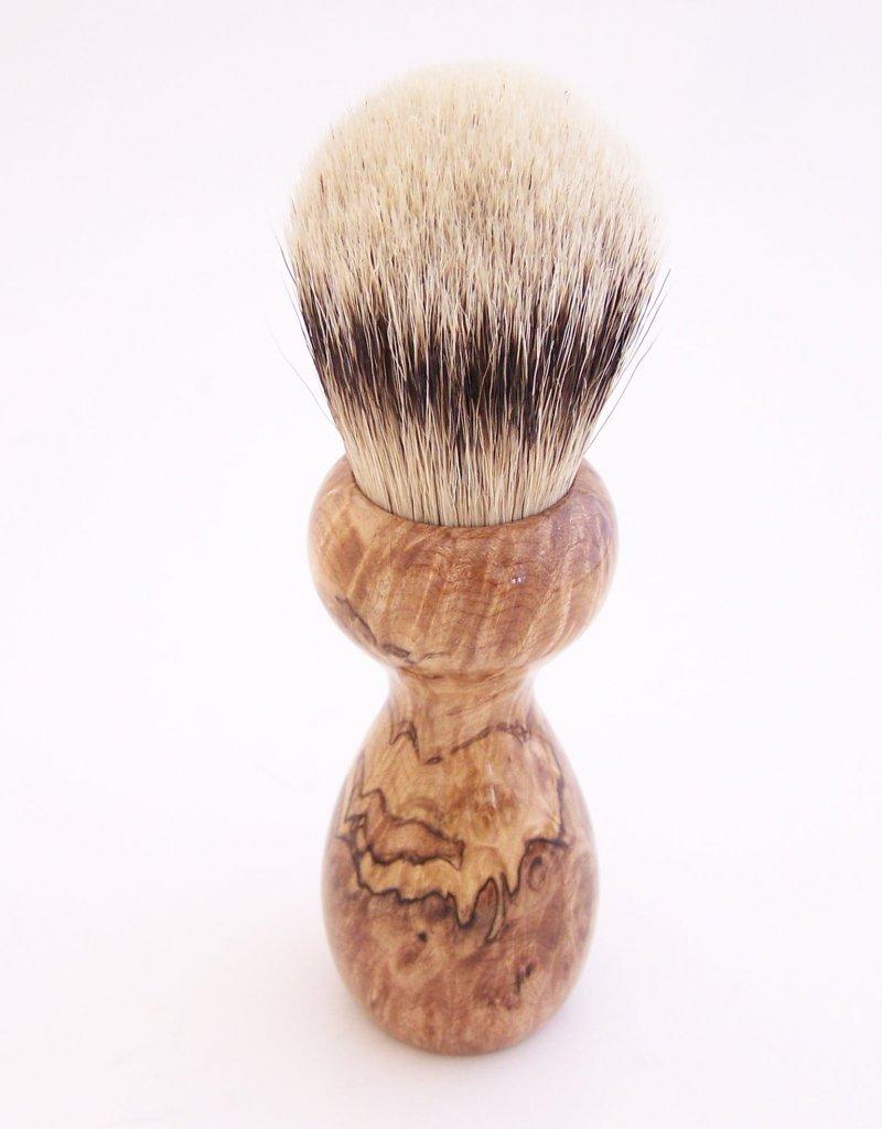 Image 2 of Spalted Maple Burl Wood 24mm Silvertip Badger Shaving Brush (Handmade in USA)M16