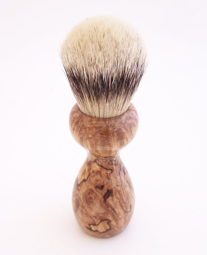 Image 3 of Spalted Maple Burl Wood 24mm Silvertip Badger Shaving Brush (Handmade in USA)M16