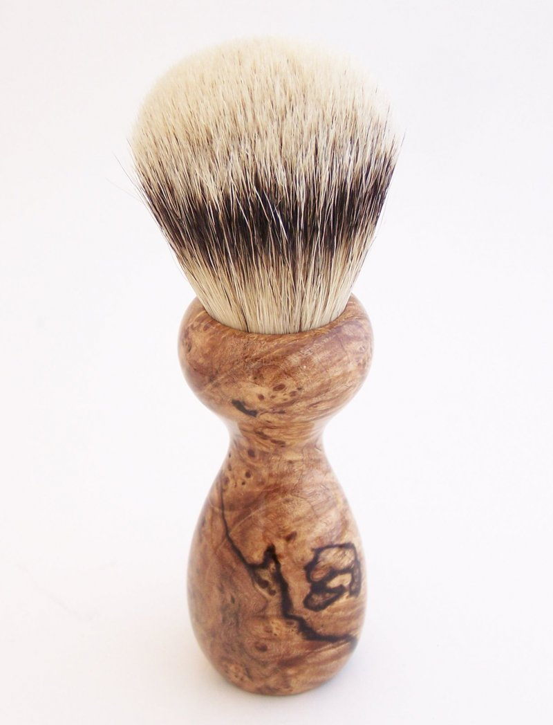 Image 2 of Spalted Maple Burl Wood 24mm Silvertip Badger Shaving Brush (Handmade in USA)M17