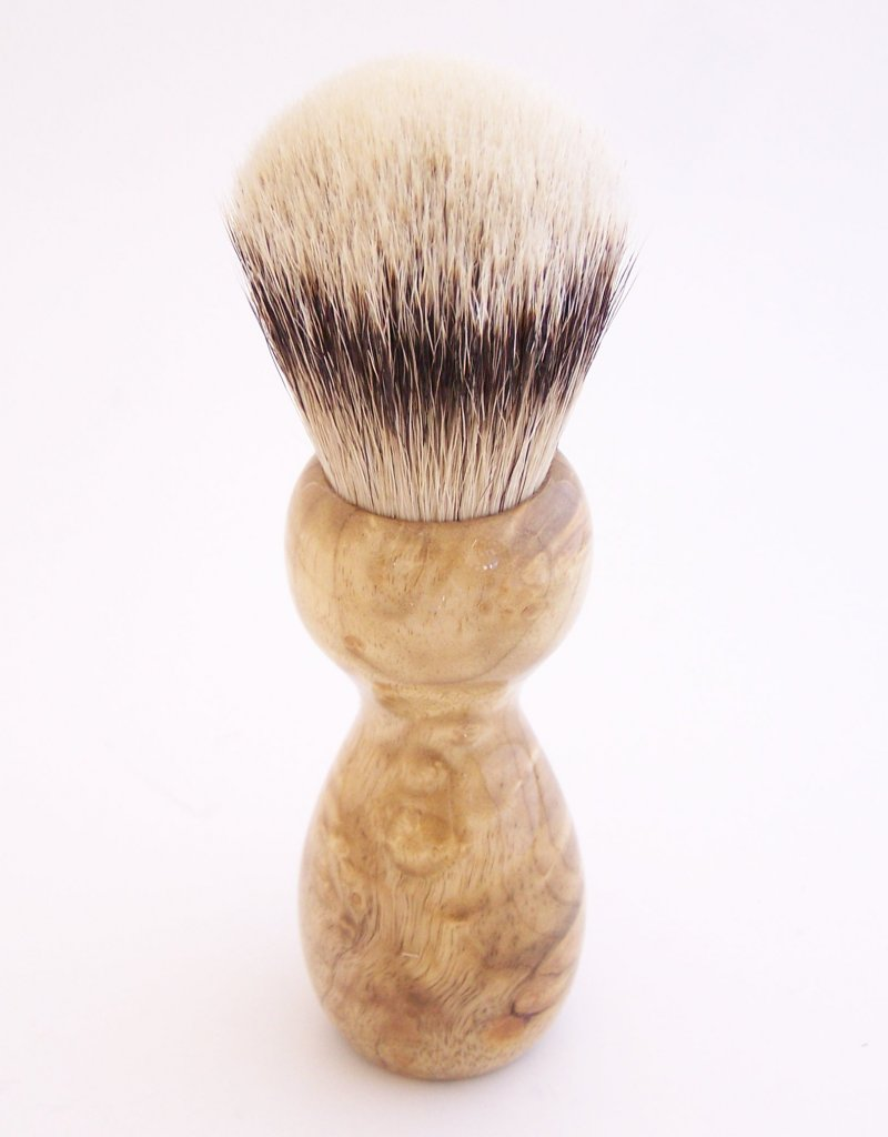 Image 2 of Cottonwood Burl Wood 24mm Silvertip Badger Shaving Brush (Handmade in USA) C1