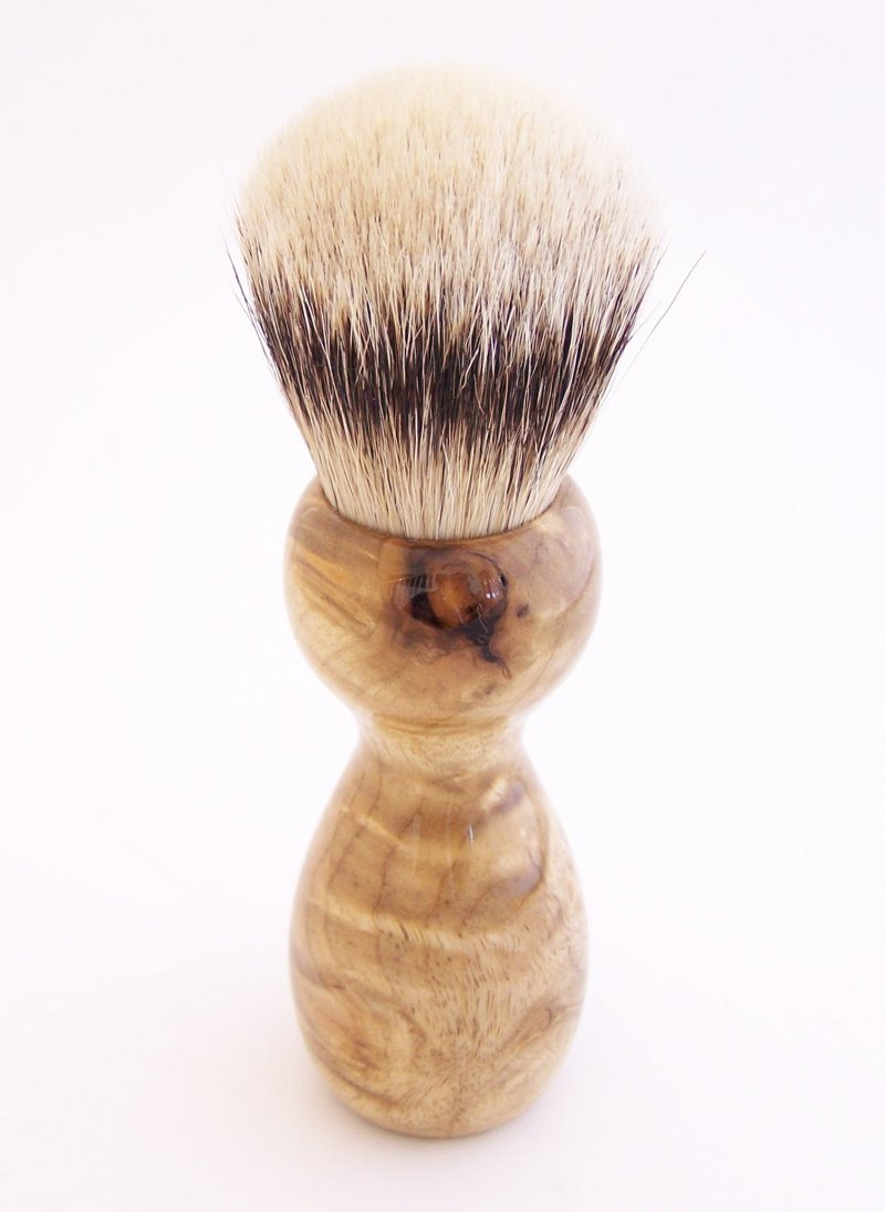 Image 3 of Cottonwood Burl Wood 24mm Silvertip Badger Shaving Brush (Handmade in USA) C1