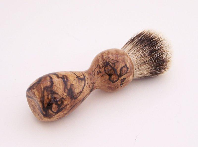 Image 0 of Spalted Maple Burl Wood 20mm Silvertip Badger Shaving Brush (Handmade) M1