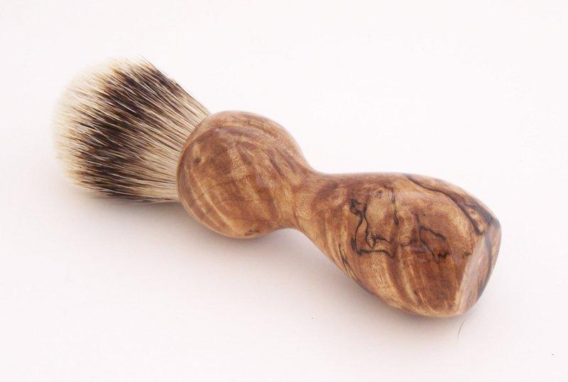 Image 1 of Spalted Maple Burl Wood 20mm Silvertip Badger Shaving Brush (Handmade) M1