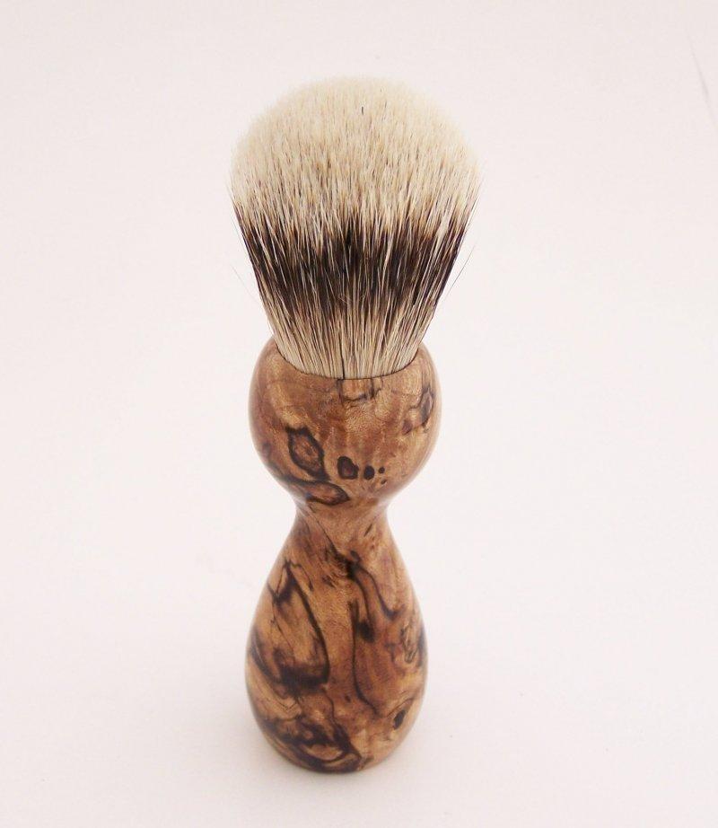 Image 2 of Spalted Maple Burl Wood 20mm Silvertip Badger Shaving Brush (Handmade) M1