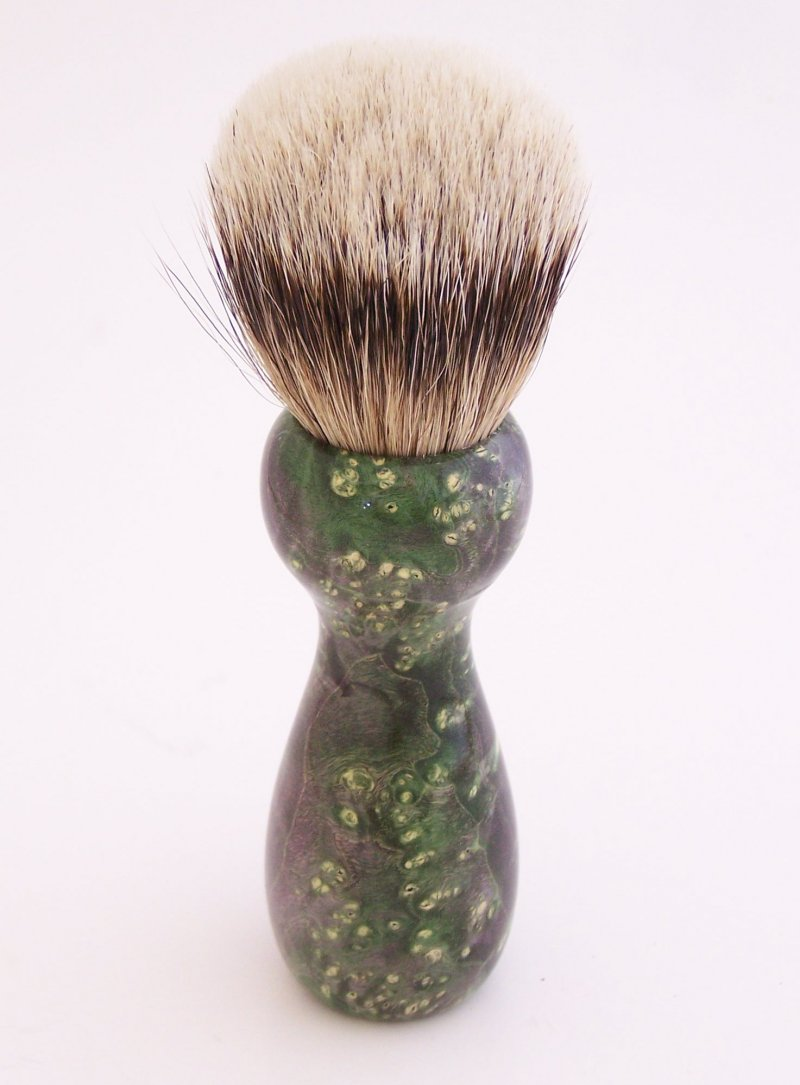 Image 1 of Green Box Elder Burl Wood 20mm Silvertip Badger Shaving Brush (Handmade) G1