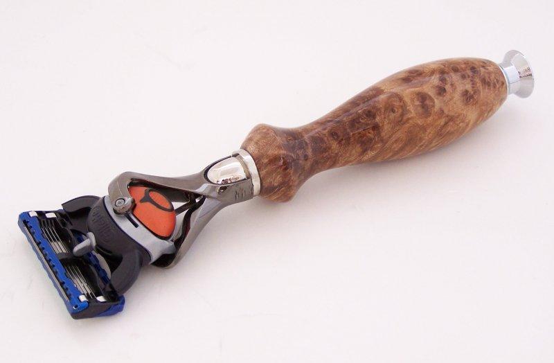 Image 0 of Maple Burl Wood Fusion Flexball Shaving Razor Handle (Handmade) M2