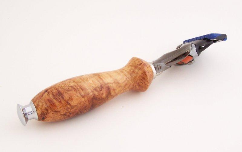 Image 2 of Cherry Burl Wood Fusion Flexball Shaving Razor Handle (Handmade) C5