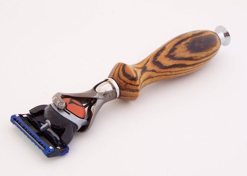 Image 0 of Bocote Wood Fusion Flexball Shaving Razor Handle (Handmade) B2