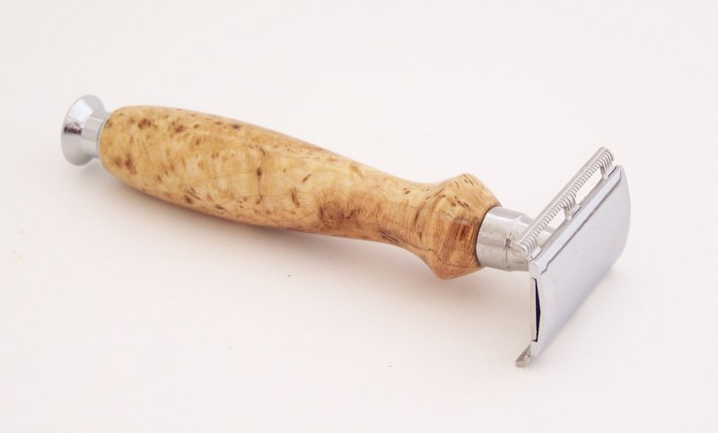 Image 1 of Cherry Burl Wood Double Edge (DE) Safety Razor Handle (Handmade) C1