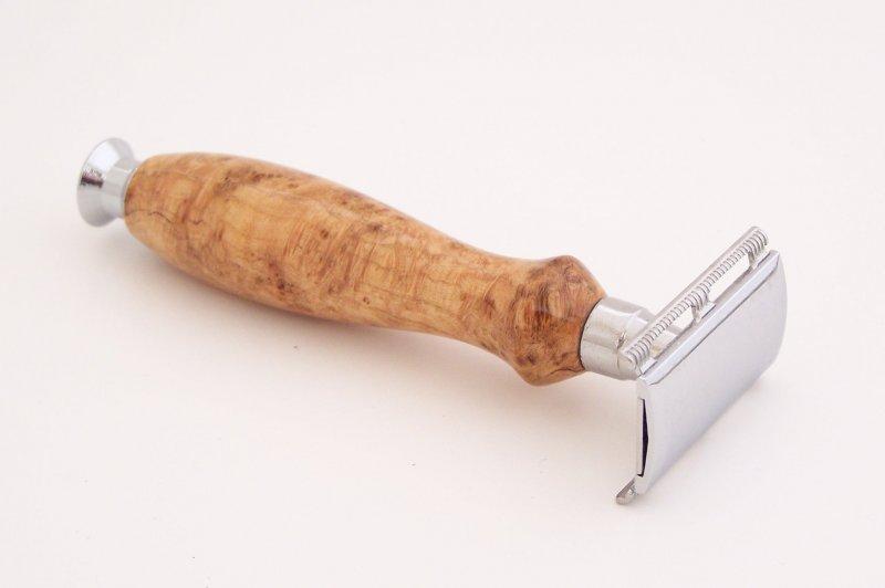 Image 0 of Cherry Burl Wood Double Edge (DE) Safety Razor Handle (Handmade) C2