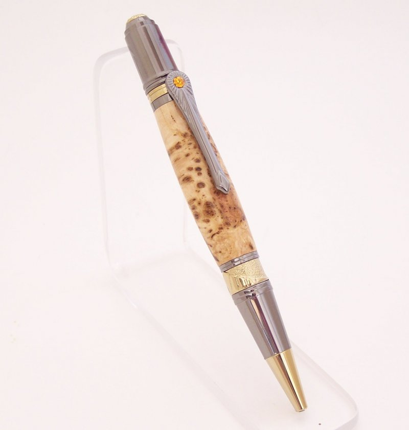 Image 0 of Cherry Burl Wood Art Deco Ballpoint Pen (Handmade in USA)  C1