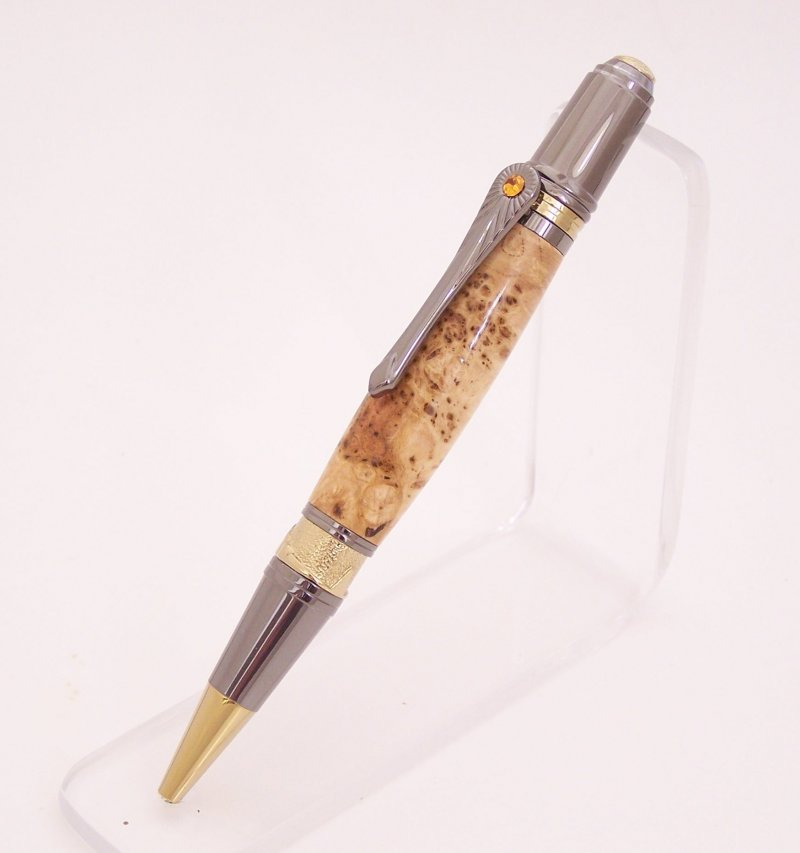 Image 1 of Cherry Burl Wood Art Deco Ballpoint Pen (Handmade in USA)  C1