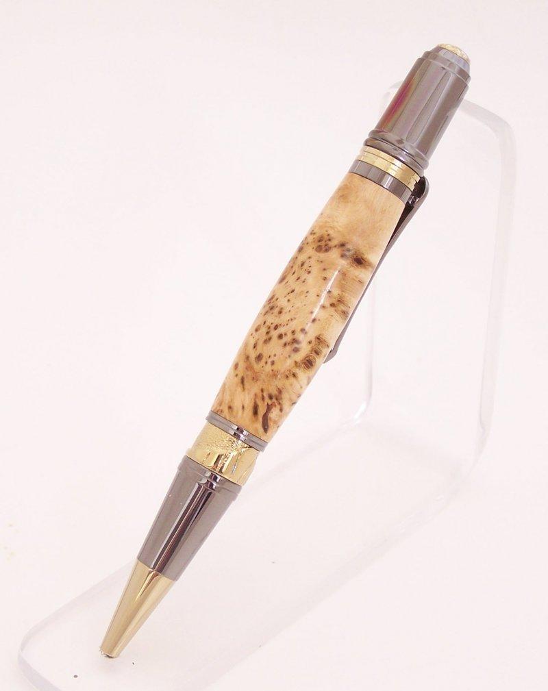Image 2 of Cherry Burl Wood Art Deco Ballpoint Pen (Handmade in USA)  C1