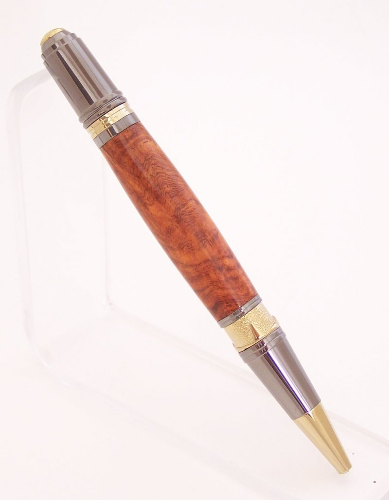 Image 2 of Amboyna Burl Wood Art Deco Ballpoint Pen (Handmade in USA)  A2