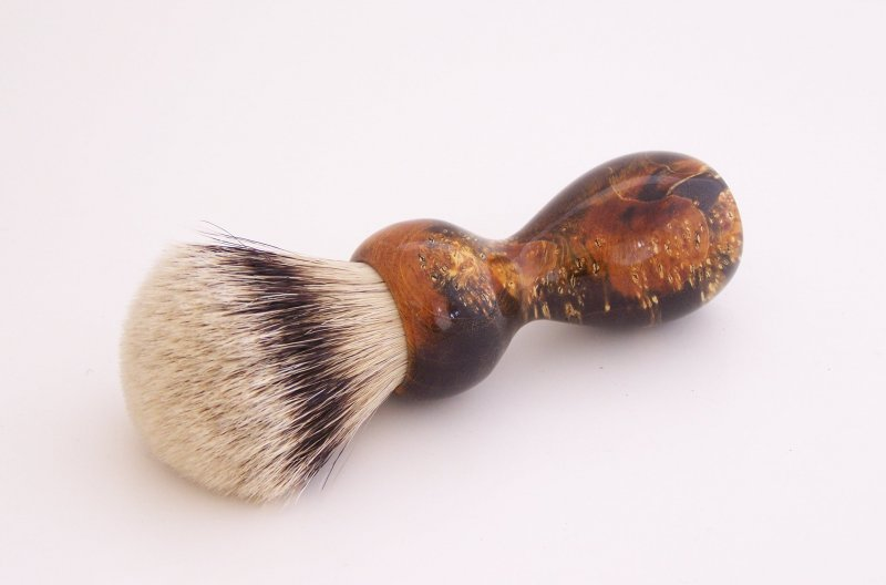 Image 0 of Gold/Black Box Elder Burl Wood 22mm Super Silvertip Badger Shaving Brush (BEB3)