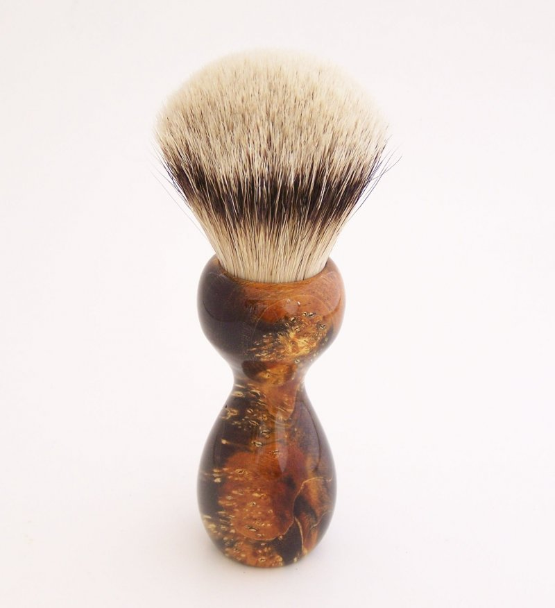 Image 1 of Gold/Black Box Elder Burl Wood 22mm Super Silvertip Badger Shaving Brush (BEB3)