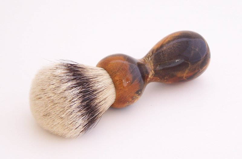 Image 2 of Gold/Black Box Elder Burl Wood 22mm Super Silvertip Badger Shaving Brush (BEB3)