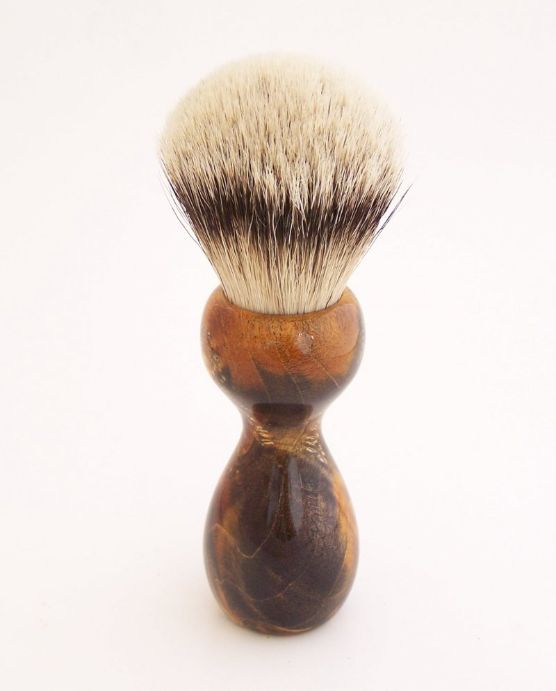 Image 3 of Gold/Black Box Elder Burl Wood 22mm Super Silvertip Badger Shaving Brush (BEB3)
